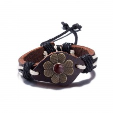 Coconut Brown Leather & Cord Adjustable Flower Bracelet
