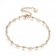 Gold Plated Adjustable Chain Link Bracelet With Heart Charm