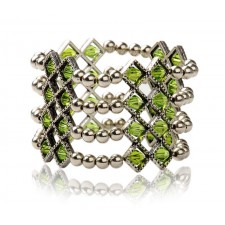 Faceted Green Glass & Antique Silver Bead 4 Strand Stretchy Bracelet