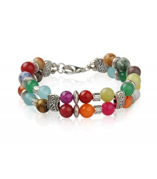 Double Strand Antique Silver Mixed Gemstone Bracelet