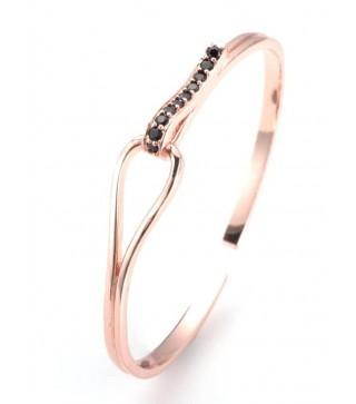 Rose Gold & Black Crystal Adjustable Cuff Bangle 60mm