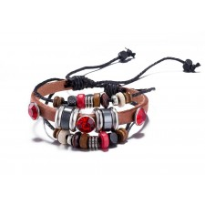 Multi Strand Scarlet Red & Tan Adjustable Leather Bracelet