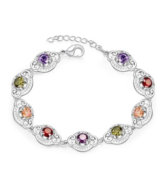Silver Plated Oval Link Adjustable Bracelet With Colourful Sparkly Crystals