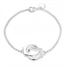 Stylish Silver Plated Handcuff Bracelet 7.9 Inches