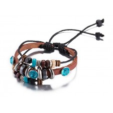 Multi Strand Turquoise & Tan Adjustable Leather Bracelet