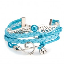 Braided 5 Strand Turquoise Leather Charm Bracelet ~ With Treble Cleff, Angel Wings & Infinity Charms