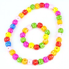 Children's Colourful Wooden Beaded Necklace & Bracelet Jewellery Set