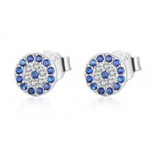 .925 Sterling Silver & Sparkly Blue Crystal Hallmarked Stud Earrings 13mm