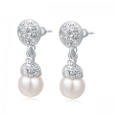 Rhinestone & Ivory Pearl Bridal Or Occasion Earrings 26mm