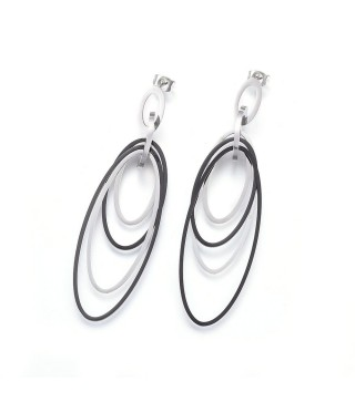 Black & Silver Long Oval Statement Stud Earrings 75mm