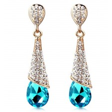 18 Carat Gold Plated Blue Zircon & Crystal Drop Stud Earrings 46mm