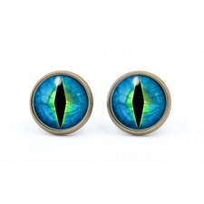 Silver Plated Blue & Green Cats Eye Stud Earrings 14mm