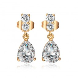 18 Carat Gold Plated Clear Crystal Drop Stud Earrings 19mm