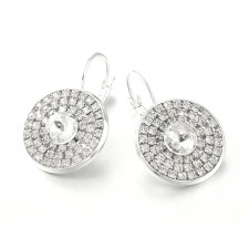 Silver & Sparkly Rhinestone Crystal Round Lever Back Earrings 34mm