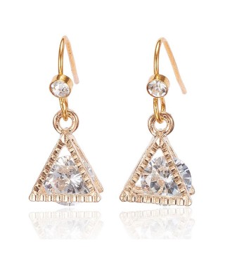 Gold Plated Crystal Triangle Drop Earrings 23mm