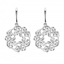 Silver Plated Contemporary Round Hollow Flower Earrings 37mm