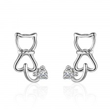 .925 Sterling Silver Cat & Silver crystal Hallmarked Stud Earrings 9mm