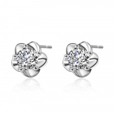 .925 Sterling Silver & Sparkly Clear Crystal Flower Stud Earrings 9mm