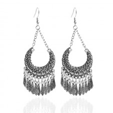 Antique Silver Bohemian Long Chandelier Earrings 95mm