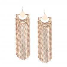 Gold Plated Chain Linked Cleopatra Style Statement Earrings 150mm