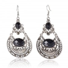 Black Rhinestone & Antique Silver Long Vintage Style Earrings 80mm