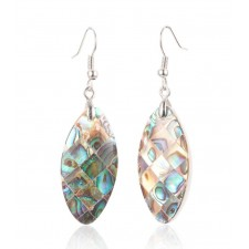 Natural Abalone Paua Shell Long Oval Dangle Earrings 54mm