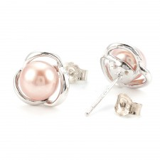 Silver Plated Pink Pearl Stud Earrings 11mm
