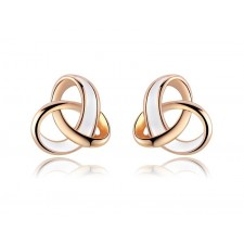 Rose Gold Plated & Enamel Three Ring Small Stud Earrings 11mm