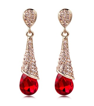 18 Carat Gold Plated Scarlet Red & Crystal Drop Stud Earrings 46mm