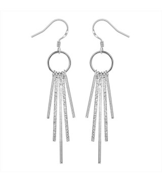 Silver & Rhinestone Crystal Long Drop Earrings 80mm