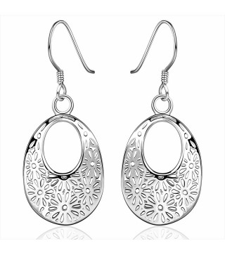 Silver Plated Contemporary Oval Filgree Cut Out Earrings 42mm
