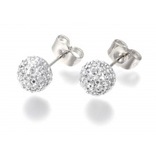 Round Ball Silver Rhinestone Stud Earrings 8mm
