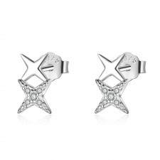 .925 Sterling Silver & Sparkly Crystal Double Star Stud Earrings 9mm