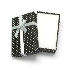 Black & White Stylish Polka Dot Universal Bow Front Gift Box 9cm x 7cm