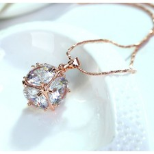 18 Carat Rose Gold Plated Crystal In A Cube Necklace With Fine Austrian Crystal & 16 Inch Extendable Chain