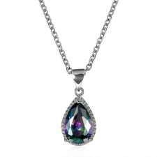 Silver Plated Sparkly Faceted Crystal Necklace With 18 Inch Extendable Chain