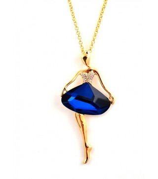 18 Carat Gold Plated Dancer Necklace With Capri Blue Stone & 16 Inch Extendable Chain