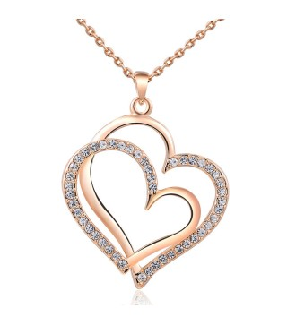 18 Carat Rose Gold Plated Double Heart Necklace With Czech Rinestone Crystals & 18 Inch Chain
