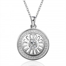 Silver Plated Round Cut Out Necklace With CZ Sparkly Crystals & 18 Inch Chain