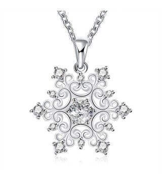 Silver Plated Snowflake Necklace With CZ Sparkly Crystals & 18 Inch Chain