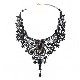 Vintage Gothic Black Lace Bib Necklace ~ A Stunning Statement Design
