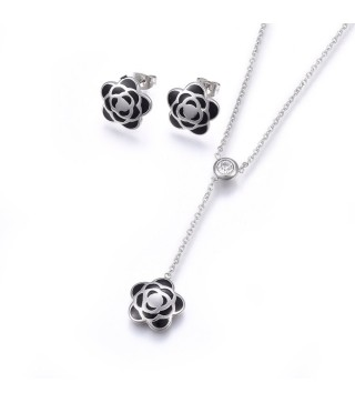 Black & Silver Enamel Flower Necklace & Earrings Set With 16.5 Inch Extendable Chain