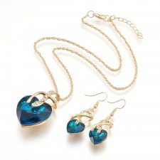 Gold & Midnight Blue Heart Necklace & Earrings Set With 20 Inch Extendable Chain